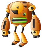 Brown kreskówki robot odizolowywający na białym tle ilustracji