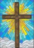 Brown krzyż na tle niebo i chmury, witrażu styl Zdjęcie Royalty Free