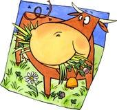 Brown-Kuh auf der Wiese Stock Abbildung