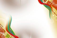 brown kwadrat i kolorowa fala, abstrakcjonistyczny tło Obraz Royalty Free