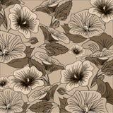 Brown kwiatu ręka rysujący tło Ilustracji