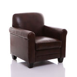 Brown läderfåtölj Royaltyfria Bilder