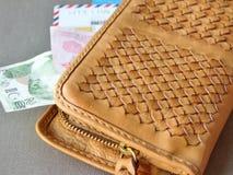 Brown läderplånbok med pengar och kort royaltyfria foton