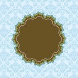 Brown Label on Blue Abstract Background