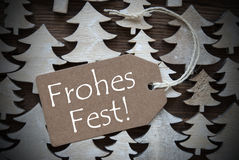 Brown Label With Frohes Fest Means Merry Christmas Stock Image