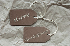 Brown Labels Happy Thanksgiving Paper Background Stock Photography