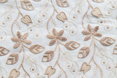 Brown lace on white background. No any trademark or restrict matter in this photo Royalty Free Stock Photography