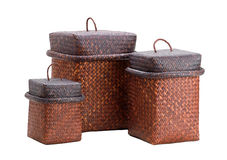 Brown Lacquer Bamboo Basket Isolated Royalty Free Stock Image