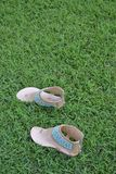 Brown Lady fashion shoes on lawn walking left side Stock Image