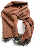Brown lamb wool scarf isolated Royalty Free Stock Photography