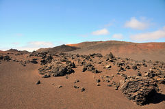 Brown lava desert landscape on spanish canary island Lanzarote Royalty Free Stock Photography