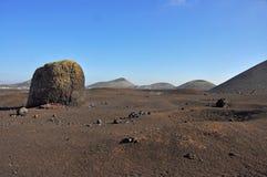 Brown lava desert landscape on spanish canary island Lanzarote Stock Photo