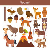 Brown. Learn the color. Education set. Illustration of primary c. Olors. Vector illustration stock illustration
