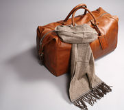 Brown leathe bag with scarf Stock Photo