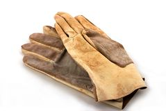 Brown leathen les gants fonctionnants Photos libres de droits