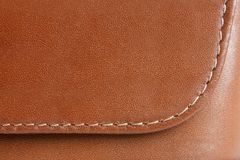 Brown leather. Natural brown leather background closeup Royalty Free Stock Photo