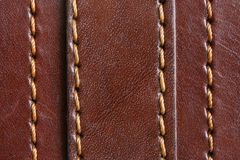Brown leather. Natural brown leather background closeup Stock Photography