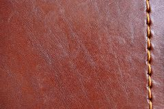 Brown leather. Natural brown leather background closeup Stock Photo