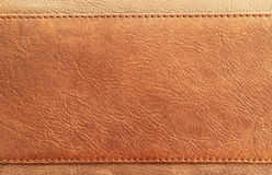Brown leather. Closeup image of brown leather texture and stitch Royalty Free Stock Image
