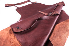 Brown leather apron. Protection for welder Royalty Free Stock Image
