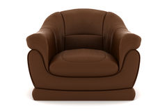 Brown leather armchair isolated on white Stock Photos