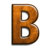 Brown leather B. Individual isolated letter B in brown leather series Stock Images