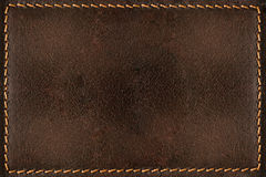 Brown leather background with seams Stock Photo