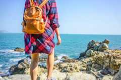 Brown Leather Backpack Royalty Free Stock Images