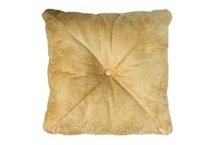 Brown leather backrest pillow isolated. Brown leather backrest pillow isolated on white background. Work with clipping path Royalty Free Stock Images