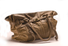 Brown leather bag. Women brown leather bag on a white background Royalty Free Stock Photography