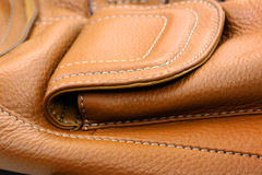 Brown leather bag. Close up shot of  a brown leather bag Royalty Free Stock Photos