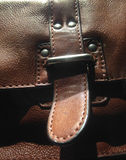Brown leather bag close up Stock Image
