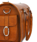 Brown leather bag, closeup. Brown leather bag on white, closeup Stock Images