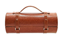 Brown leather bag for cosmetic or jewelry Stock Photos