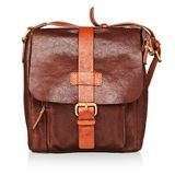 Brown leather bag isolated Stock Images