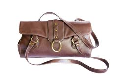 Brown leather bag isolated on white. (with clipping path stock photos