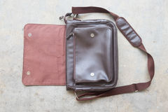 Brown leather bag for men. Top view Stock Photo