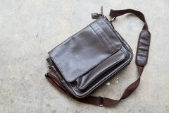 Brown leather bag for men. Top view Stock Photos
