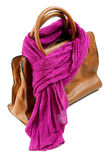 Brown leather bag and violet scarf Stock Images