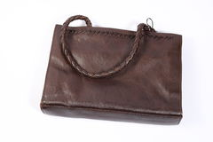 Brown leather bag. In white background Royalty Free Stock Photography