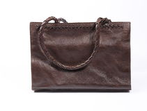Brown leather bag. In white background Stock Photos