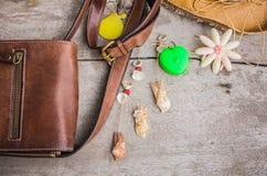 Brown leather bag Stock Image