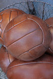Brown leather balls Royalty Free Stock Images