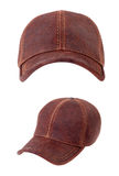 Brown leather baseball caps Royalty Free Stock Image