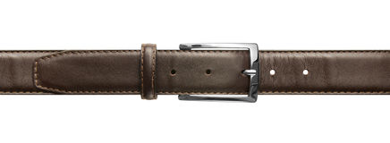 Brown leather belt with buckle Stock Image