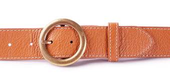 Brown leather belt with buckle Stock Photo