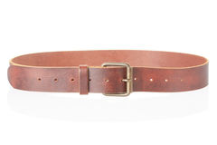 Brown leather belt with buckle. Isolated on white, clipping path included Stock Images