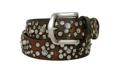 Brown leather belt with different rivets on white background royalty free stock photography