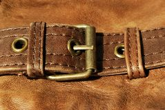 Brown leather with belt fastener Royalty Free Stock Photo