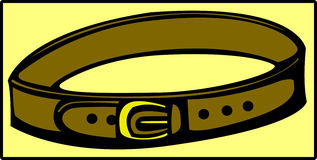 brown leather belt with golden buckle. Vector Stock Image